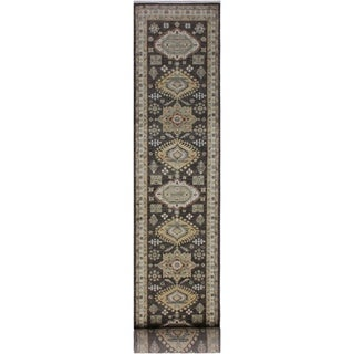 "Ziegler Peshawar Forest Brown/Ivory Hand-knotted Wool Rug - 2'8 x 13'4 - 2'8"" x 13'4"""