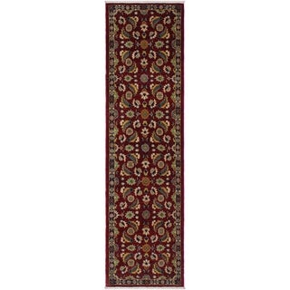 "Ziegler Peshawar Ewa Red/Blue Hand-knotted Wool Rug - 2'7 x 9'7 - 2'7"" x 9'7"""