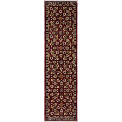 "Ziegler Peshawar Ewa Red/Blue Hand-knotted Wool Rug - 2'7 x 9'7 - 2'7"" x 9'7"" - 2'7"" x 9'7"""