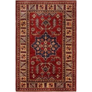 "Super Kazak Carola Red/Ivory Hand-knotted Wool Rug - 2'1 x 3'0 - 2'1"" x 3'0"""