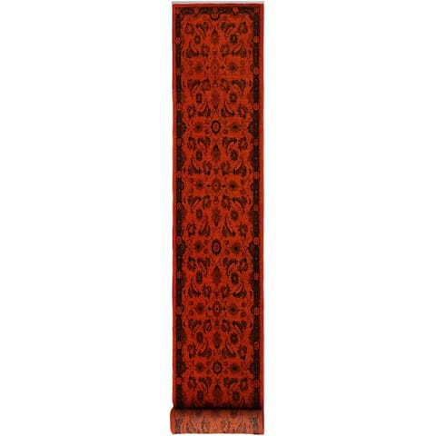 """Overdyed Color Reform Clifford Orange/Black Hand-knotted Wool Rug - 2'4 x 11'9 - 2'4"""" x 11'9"""" - 2'4"""" x 11'9"""""""