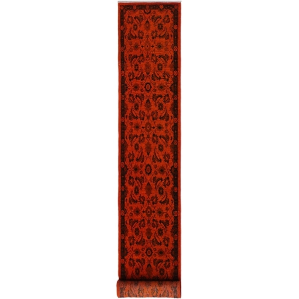 """Overdyed Color Reform Clifford Orange/Black Hand-knotted Wool Rug - 2'4 x 11'9 - 2'4"""" x 11'9"""""""