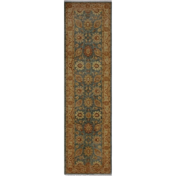 "Ziegler Sun-Faded Queen Gray/Lt. Tan Hand-knotted Wool Rug - 2'6 x 9'5 - 2'6"" x 9'5"""
