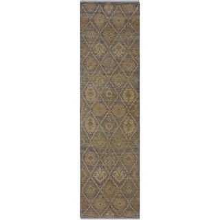 "Ziegler Sun-Faded Heidy Gray/Ivory Hand-knotted Wool Rug - 2'7 x 9'2 - 2'7"" x 9'2"""