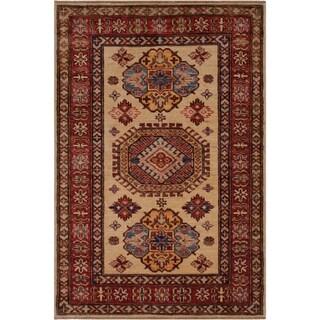 "Super Kazak Zulema Ivory/Red Hand-knotted Wool Rug - 2'10 x 3'10 - 2'10"" x 3'10"""