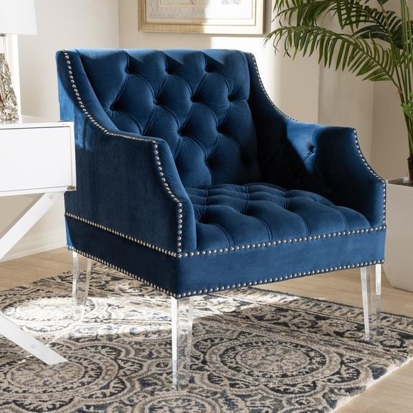 Navy Velvet Club Chair: Shop Baxton Studio Contemporary Navy Velvet Fabric