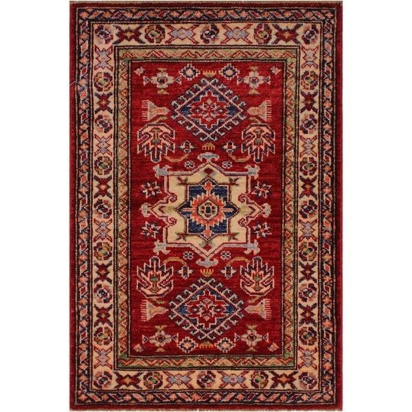 "Super Kazak Joannie Red/Ivory Hand-knotted Wool Rug - 2'0 x 3'1 - 2'0"" x 3'1"""