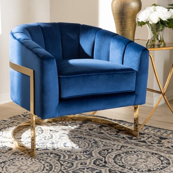 Shop Baxton Studio Royal Blue Velvet Upholstered Lounge