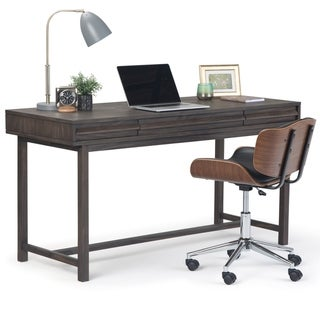 WYNDENHALL Blair Solid Wood Rustic Modern 60 inch Wide Desk in Driftwood