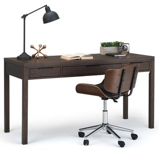 WYNDENHALL Fabian Solid Wood Contemporary Modern 60 inch Wide Desk in Warm Walnut Brown