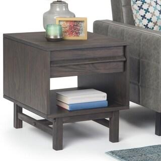 Carbon Loft Ravenscroft Driftwood Grey Lacquer Pine End Table - 20 W x 22 D x 22 H