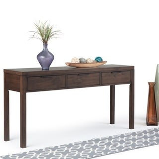 "WYNDENHALL Fabian Solid Wood 60 inch Wide Contemporary Modern Wide Console Table in Warm Walnut Brown - 60"" W x 16"" D x 30"" H"