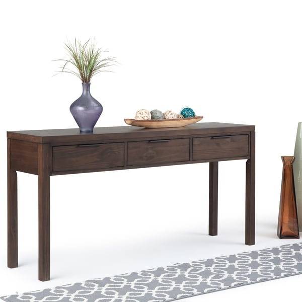 "WYNDENHALL Fabian Solid Wood 60 inch Wide Contemporary Modern Wide Console Table in Warm Walnut Brown - 60"" W x 16"" D x 30"" H"