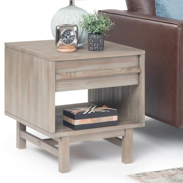 Carbon Loft Ravenscroft Driftwood Grey Finish Wooden End Table - 20 W x 22 D x 22 H