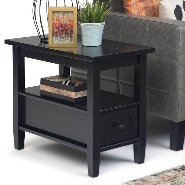 WYNDENHALL Norfolk Solid Wood 14 inch Wide Rectangle Rustic Narrow Side Table - 14 Inches wide