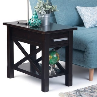 WYNDENHALL Waterloo Solid Wood 14 inch Wide Rectangle Contemporary Narrow Side Table - 14 inch Wide