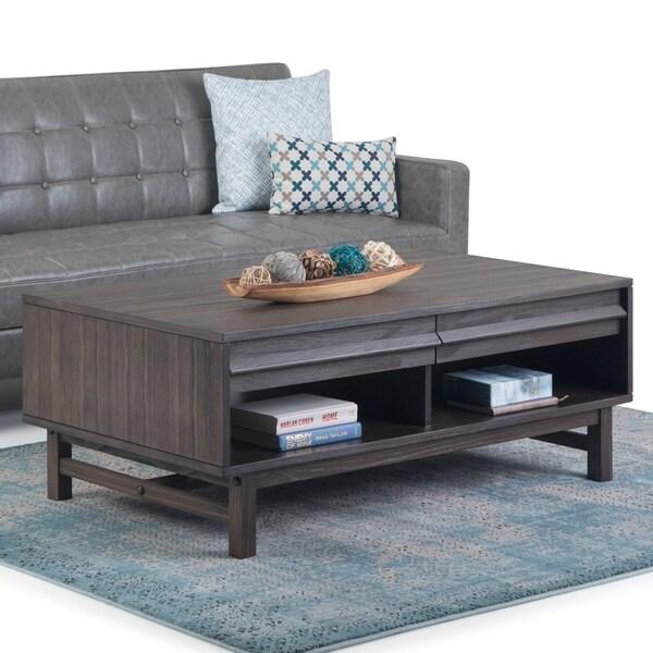 "Carson Carrington Salarp Driftwood Grey Finish Wooden Coffee Table - 50"" W x 26"" D x 18.5"" H"