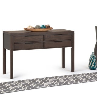 "Carson Carrington Salebo Lacquered Walnut Brown Wood Entryway Table - 48"" W x 16"" D x 30"" H"