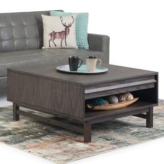 "Carson Carrington Salarp Brown Wood Square Coffee Table - 36"" W x 36"" D x 18.5"" H"