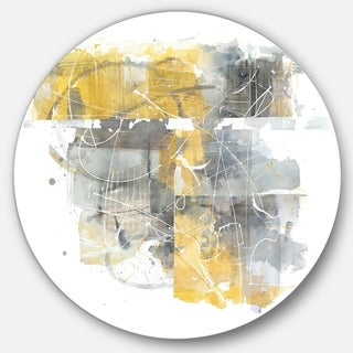 Designart 'Moving In and Out of Traffic II Yellow Grey' Geometric Metal Circle Wall Art