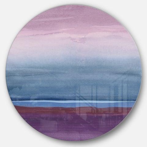 Designart 'Purple Rock landscape III' Geometric Metal Circle Wall Art