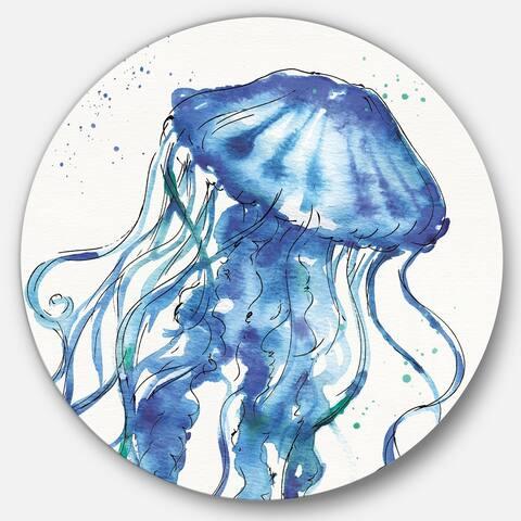 Designart 'Blue Deep Sea X' Nautical & Coastal Metal Circle Wall Art