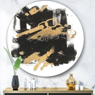 Designart 'Gold and Black drift I' Glam Metal Circle Wall Art