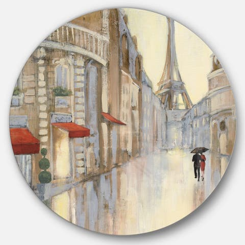 Designart 'Love in Paris III' French Country Metal Circle Wall Art