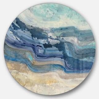 Designart 'Coast Blue Sea Waves Watercolour' Traditional Metal Circle Wall Art