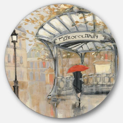 Designart 'Love in Paris IV' French Country Metal Circle Wall Art
