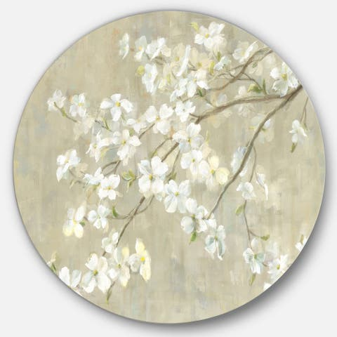 Designart 'Dogwood in Spring Neutral' Farmhouse Metal Circle Wall Art