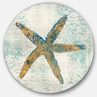 Designart 'Coastal Pastel seashells III' Nautical & Coastal Metal Circle Wall Art