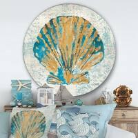 Designart 'Coastal Pastel seashells I' Nautical & Coastal Metal Circle Wall Art