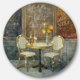 Designart 'French Cafe' French Country Metal Circle Wall Art