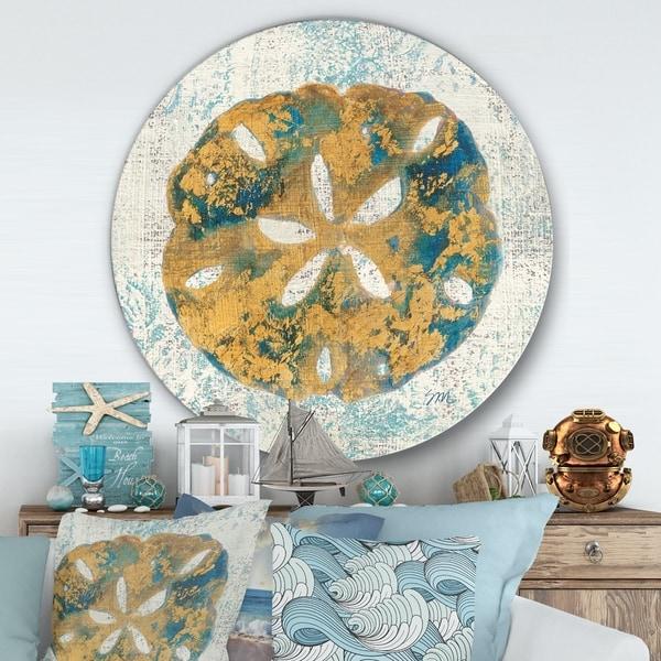 Designart 'Coastal Pastel seashells II' Nautical & Coastal Metal Circle Wall Art