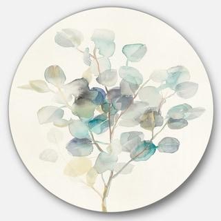 Designart 'Eucalyptus leaves I' Farmhouse Metal Circle Wall Art