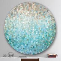 Designart 'Blocked Abstract' Geometric Metal Circle Wall Art