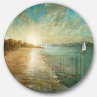 Designart 'Coastal Pastel Horizon' Nautical & Coastal Metal Circle Wall Art