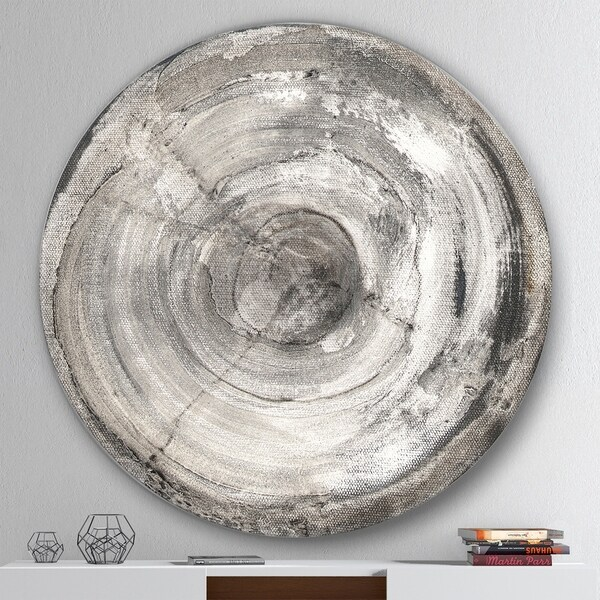 Designart 'Circle natural elements III' Geometric Metal Circle Wall Art