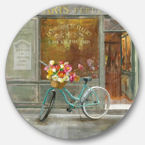 Designart 'Paris French Flowershop ' French Country Metal Circle Wall Art