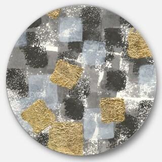 Designart 'Gold Glamour Squares II' Glam Metal Circle Wall Art