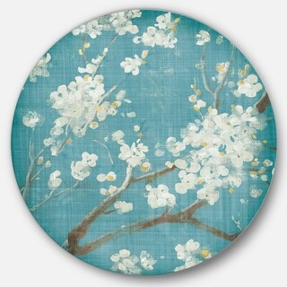 Designart 'Blue Cherry Blossoms II' Farmhouse Metal Circle Wall Art