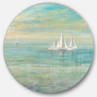 Designart 'Sunrise Boat II' Nautical & Coastal Metal Circle Wall Art