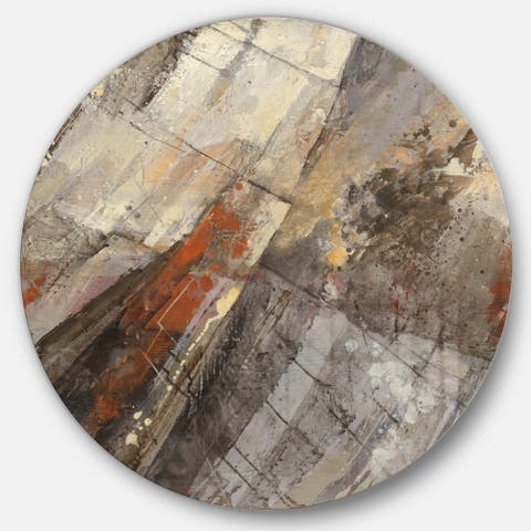 Designart 'Fire and Ice Minerals III' Geometric Metal Circle Wall Art