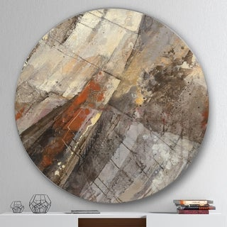 Designart 'Fire and Ice Minerals III' Geometric Metal Circle Wall Art