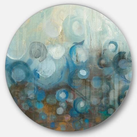Designart 'Blue and Bronze Dots on Glass I' Geometric Metal Circle Wall Art