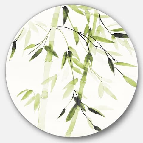 Designart 'Simplist Bamboo Leaves II' Farmhouse Metal Circle Wall Art