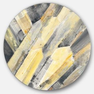 Designart 'Geometric Beige Glacier' Geometric Metal Circle Wall Art