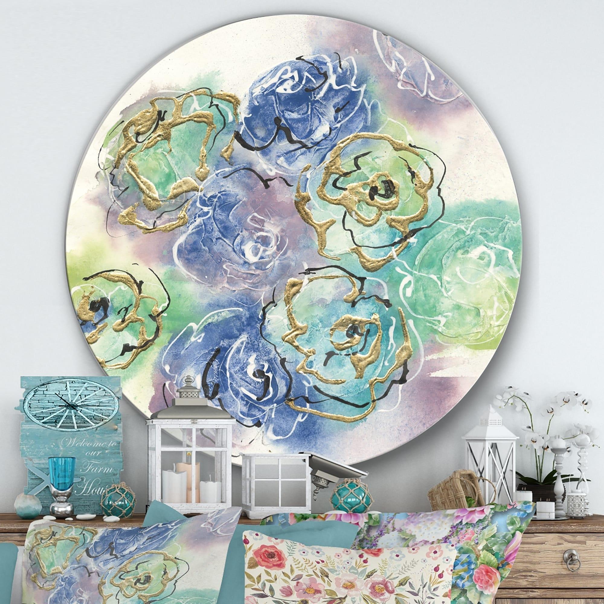 Designart pastel foral composition ii farmhouse metal circle wall art