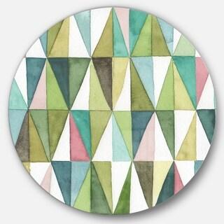 Designart 'Mixed Green Geometric Pattern II' Geometric Metal Circle Wall Art